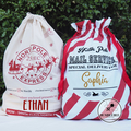 North Pole Mail Service - Santa Sack - Candy Cane Stripe Christmas Present Bag