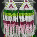 Green Pink and White Beaded Earrings Dangle Tassel Drop Fringe Boho