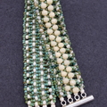 Turquoise and Cream Czech  Beaded Bracelet Boho Trendy Formal