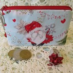 Christmas Coin Purse - Jewellery Pouch - Red Santa with jingle bell
