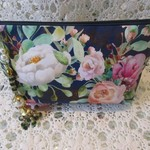 Clutch Bag - Navy Rose Design with Green Bead & Pearl Tassel