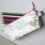 Zippered pouch or toy pouch with fairytale themed fabric