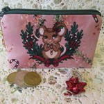 Christmas Coin Purse - Jewellery Pouch - Xmas Mouse with Bauble Charm