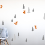 Foxes in the woods Vinyl wall Decals -  fox wall stickers