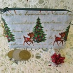 Christmas Coin Purse - Jewellery Pouch - Retro Deer with Xmas Tree Charm