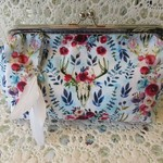 Boho Deer Design Clutch on Purse Frame with Feather Dangly