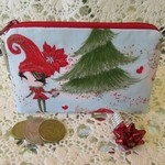 Christmas Coin Purse - Jewellery Pouch - Red Elf with Diamante Dangly