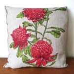 Vintage Australian WARATAH Wildflowers Cushion