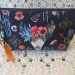 Clutch Bag - Navy Boho Design with Orange Feather & Bead Tassel
