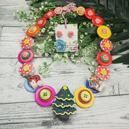 Colourful Tree - Christmas - Necklace Buttons Polymer - Jewellery - Earrings