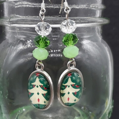 Christmas Tree Beaded Earrings Santa gift festive xmas