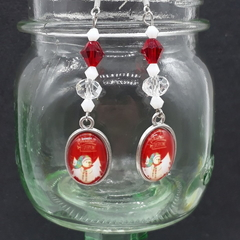 Christmas Snowman Beaded Earrings Santa gift festive xmas
