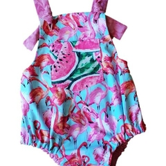 Reversible Vinti Romper - Watermelons & Flamingos