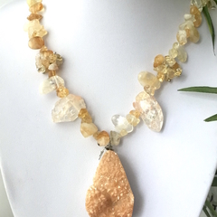 Natural CITRINE,  White/Rose Crystals and Drusy Quartz Rustic Necklace.