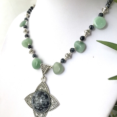 Genuine Snowflake OBSIDIAN Pendant in AVENTURINE Necklace.