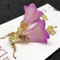 Purple & Yellow Trumpet Flower Earrings