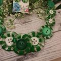 Green Mint Swirls - Red white- Button Necklace - Button Earrings - Jewellery