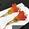 Orange, Red & Yellow Trumpet Flower Earrings