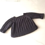 Newborn Baby Jumper , Dark Grey , Cotton, Hand Knit