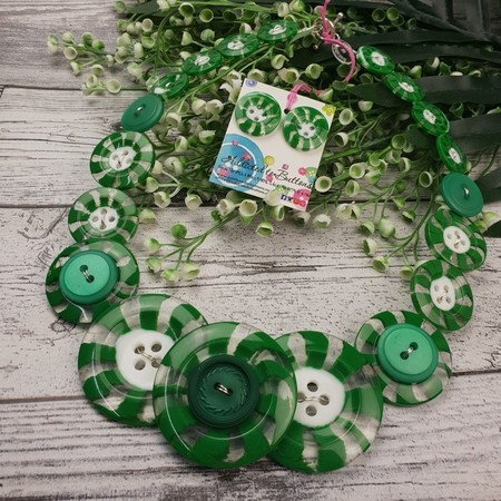 Green Mint Swirls - Red white- Button Necklace - Button Earrings - Jewellery