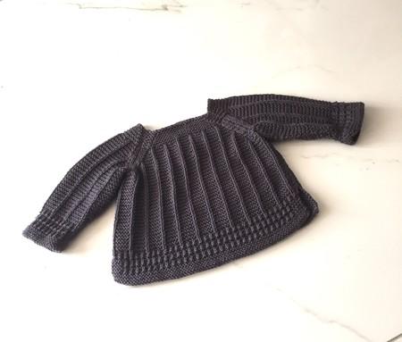 0-3 mths Baby Jumper, Dark Grey , Cotton, Hand Knit