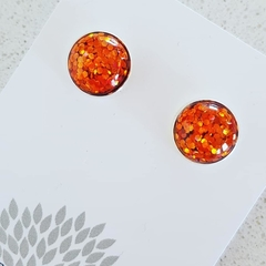 All That Glitters - Silver Plated Studs - orange