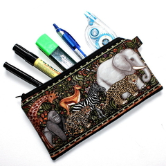 Pencil Case in Safari Animal Fabric
