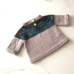 Newborn Baby Jumper , Brown / Blue , Merino Wool, Hand Knit