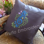 """Black Silk with Blue Treble Clef"" Cushion  (cover only)"