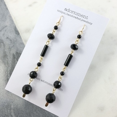 Black agate and crystal drop earrings with gold plated earring hooks