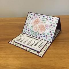 2019 Desk calendar, floral card with calendar, teachers gift