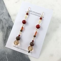Coral and crystal drop earrings with gold plated earring hooks