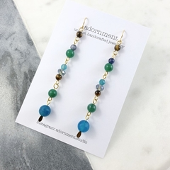 Blue and green agate and crystal drop earrings with gold plated earring hooks