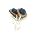 Earrings - Timber and Fabric Button Kimono Teardrops