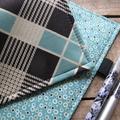Notebook Cover - aqua plaid