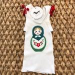 Christmas babushka doll singlet size 000 girl baby pompom xmas