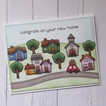 Village Scene Housewarming Card - Handmade - 'Congrats On Your New Home'