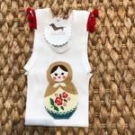 Christmas babushka doll singlet size 0 girl baby pompom xmas
