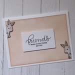 Friendship Card - Handmade - 'Friends Make Everything Better' - Bunny Rabbits