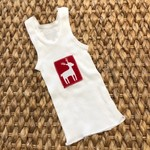 Christmas Reindeer singlet boy girl baby red white xmas