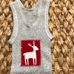 Christmas Reindeer singlet boy girl baby red grey xmas