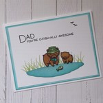 Funny Dad Card - 'Dad You're O-Fish-Ally Awesome' - Handmade - Humorous Fishing