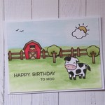 Cute Farm Scene Children's Birthday Card - Handmade - 'Happy Birthday To Moo'