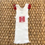 Christmas love heart singlet girl baby pompom xmas