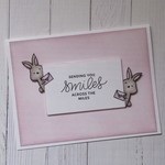 Friendship Card - Handmade - 'Sending You Smiles Across The Miles' - Bunnies