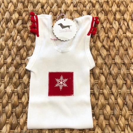 Christmas snowflake singlet baby red pompoms  white xmas
