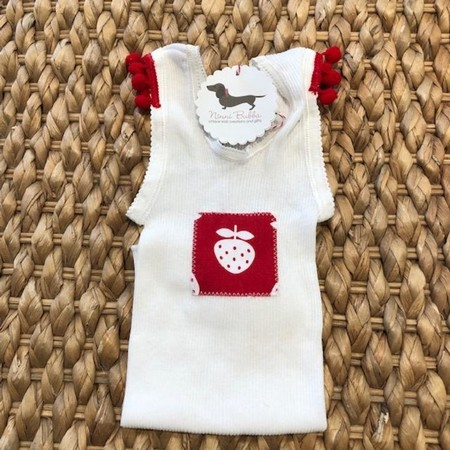 summer strawberry singlet girl baby pompom xmas red size 1