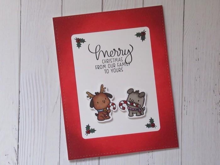 Candy Cane Pups Handmade Christmas Greeting Card Merry Christmas
