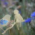 Brass & Resin Girl with Fairy Wren Garden Decoration