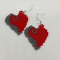 Valentines Heart Beaded Earrings Red Grey